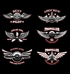 set vintage airplane emblems design elements vector image