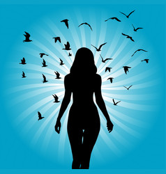 silhouette woman with birds flying around her vector image