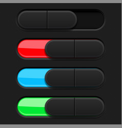 slider buttons colored 3d oval icons vector image