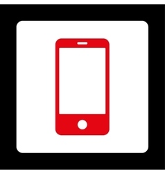 Smartphone flat red and white colors rounded vector image