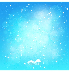Snowfall abstract blue winter background vector image