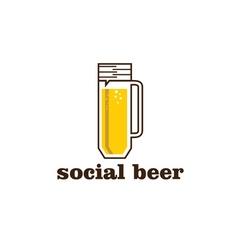 social beer mug pub design template vector image