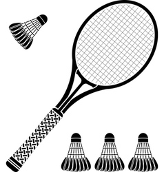 stencil racket and badminton shuttlecocks vector image
