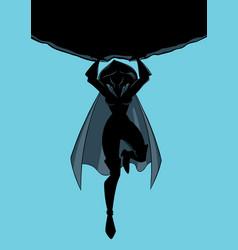 Superheroine holding boulder silhouette vector
