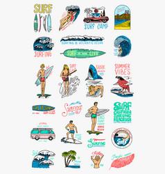 surf badges vintage surfer logo retro wave and vector image