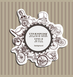 template steampunk design for card frame vector image
