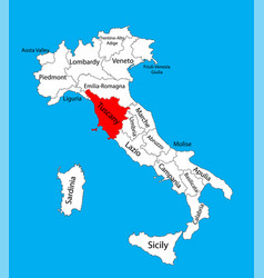 Tuscany toscana italy province map silhouette vector