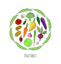 Vegetables hand drawn set isolated doodle vector
