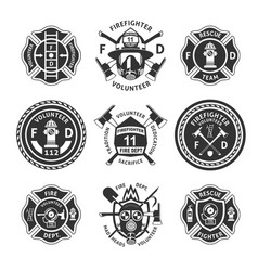 vintage monochrome firefighting labels set vector image