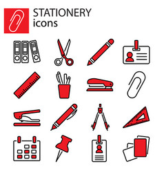 web icons set stationery office stuff vector image