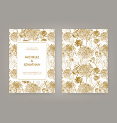 Wedding invitation with golden japanese vector