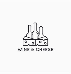 wine and cheese linear logo wine bottles vector image