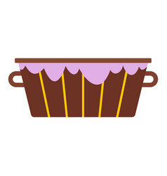 Wooden bucket with foam icon isolated vector