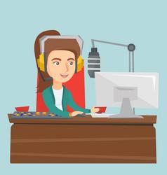 Young female caucasian dj working on radio vector