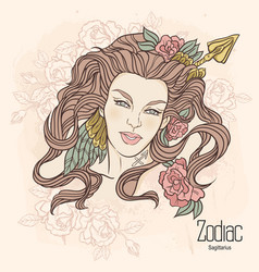 zodiac sagittarius as girl vector image