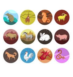 Zodiac set icons of animals for horoscope vector