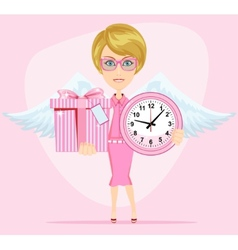 Angel holding a pink watchs and gifts with vector image