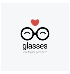 round eye glasses Logo with a heart love vector image