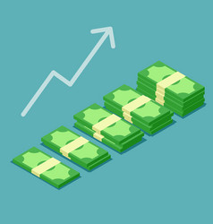 Banknotes stack growth successful vector