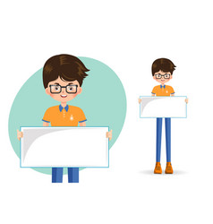 boy student holding an empty banner vector image