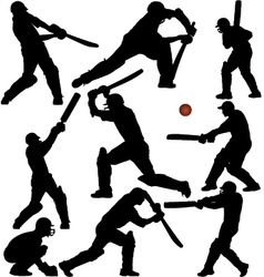 Cricket Sports Silhouettes vector image