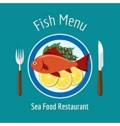 Fish delicious dish healthy eating vector image