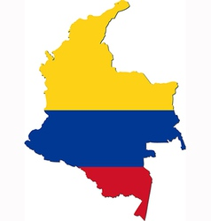 Map of Colombia with national flag vector image