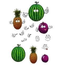 Cartoon watermelon pineapple and plum fruits vector image