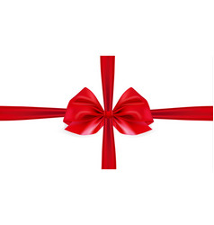 realistic red bow on white background ribbon vector image