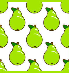 seamless pattern with green pear on white vector image vector image