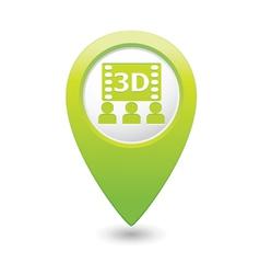 3d cinema icon green pointer vector image vector image