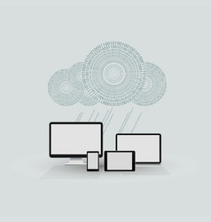 a cloud of numbers with computers vector image vector image