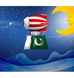 A floating balloon with the flag of pakistan vector