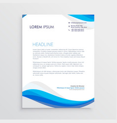 business blue wave style letterhead template vector image vector image