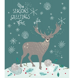 Christmas background with deer and snowflakes vector image vector image
