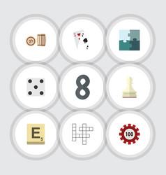flat icon games set of mahjong jigsaw pawn and vector image vector image