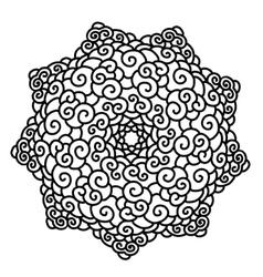 Hand drawn monochrome star Mandala isolated on vector image