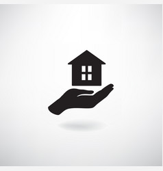 home in hand housekeeping sign real estate vector image