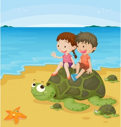 kids on turtles vector image vector image