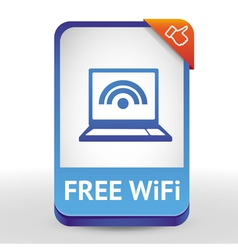 label with laptop and wifi sign - vector image vector image