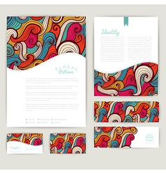 Set of wave abstract cards invitations wave vector image