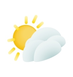 Sun and cloud icon isometric 3d style vector image vector image