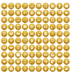 100 web development icons set gold vector image