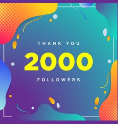 2000 or 2k followers thank you colorful geometric vector image