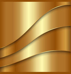 Abstract golden metallic background with curves vector