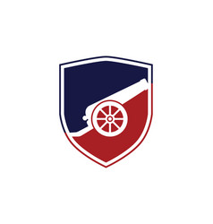 An icon about cannon with shield logo design vector