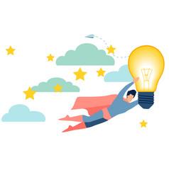 an office worker a superhero has a good idea in vector image