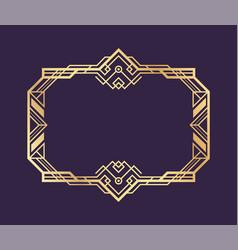 Art deco gold frame decorative vintage vector