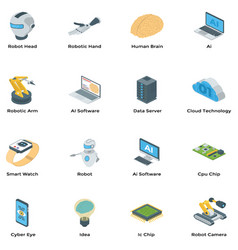 artificial intelligence isometric icons pack vector image