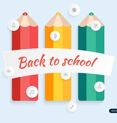 Back to school pencil with education icons vector